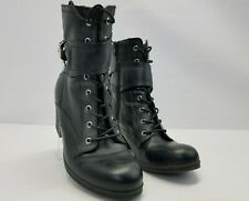 G BY GUESS Women's Ankle Boots Black faux Leather Lace Up Zip Combat Sz 9.5 M