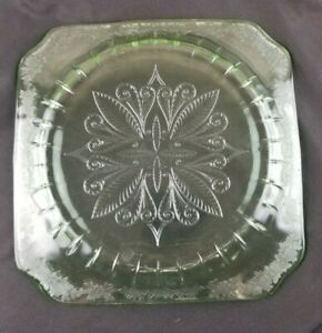 "Vintage Jeanette Adam Green Uranium Depression Glass 9"" Square Dinner Plate"