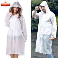 Men Women EVA Raincoat Transparent Waterproof Plastic Reusable Rain Poncho Hood