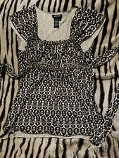 womens black and white blouse Used Large
