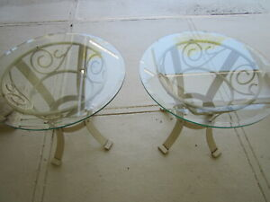 Vintage end table glass and Metal Beige Color  Set of Two