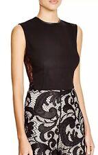 NWT $245 Alice + Olivia Flynn Black Sleeveless Lace Inset Panel Shell Top Sz XS