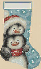 Cross stitch chart  Christmas Stocking Penguin christmas 2  FlowerPower37.