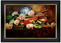Framed, Still Life w/Violin and Roses, Quality Hand Painted Oil Painting 24x36in