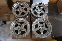 "For Miata MX5 e30 civic ek eg6 dc2 JDM 15"" 100x4 Chrome wheels meister style s1"