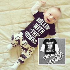 2PCS Kids Baby Toddler Boy Girls Clothes Set T-shirt Tops Pants Leggings Outfits