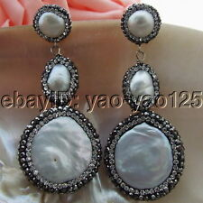 H010613 26MM White Coin Pearl Trimmed With Marcasite Earrings 925 Silver Stud