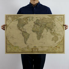 Vintage world map decorative posters prints ebay large world map up to 104x69cm retro poster vintage style wall decor picture gumiabroncs Choice Image