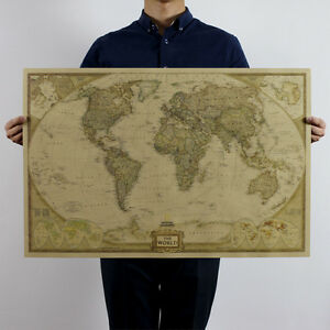 Large World Map Up To 104x69cm Retro Poster Vintage Style Wall Decor Picture
