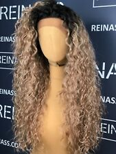 SYNTHETIC LACE FRONT WIG OMBRE BLONDE LONG CURLY 26 INCHES PREMIUM
