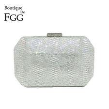 Luxury Silver Women Crystal Evening Bag Wedding Box Clutch Dinner Handbag Purse