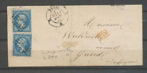 1863 Lettre 40c PD rge Obl N°1521 PARIS K*K Losange retaillé. TB. X3099