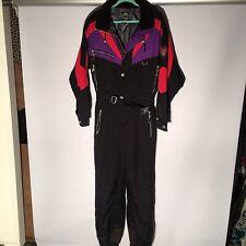 Vintage MARKER VERTICAL ENERGY Men's Large Black Red Purple Ski Snow Suit 1-PC