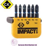 CK 6 PIECE BLUE STEEL IMPACT POZI BIT SET 50mm PZ1, PZ2, & PZ3 - T4511