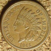 1861 Indian Head Cent (CN) - AU+ SUPER SHARP RAW COIN (K991)