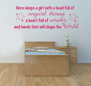 Here Sleeps a Girl, Wall Art Sticker Decal, Nursery, Bedroom, Children's decor