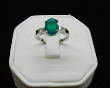 Size 7 1.29ct Genuine Green Ethiopain Opal & White Topaz Sterling Silver Ring