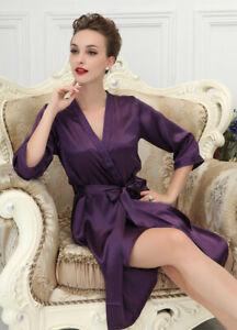 Pure Silk Womens Dressing Gown Slips 2 Pcs Set UK 4 8 12 SSS1591