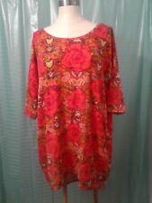 Women LuLaRoe Orange Floral 3/4 Sleeve Top Size Med