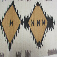 Navajo Indian Rug Chinle Design 32x20in Blk Brn Gol Ecru New No Damage 70s