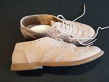 F&F size 4 (37) beige / stone faux suede lace up brogues flats