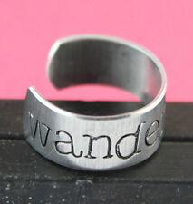 Wanderlust Ring - Hand Stamped Adjustable Aluminum Handstamped traveler gift