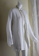 NWT Eskandar Sz 1 Oyster Rich Incredible Achkan Beaded Herringbone Linen Jacket