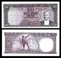 TURKEY / * ATATURK * 50 Lira 5.Emis. 6.Tertip 1964 ND (1979)  XF