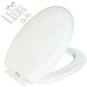 LUXURY SLOW SOFT CLOSE WHITE OVAL BATHROOM TOILET SEAT WITH BOTTOM FIXING HINGES