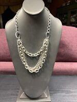 """Vintage Designer Signed Long Multi Strand Silver Grey Sweater Necklace 22"""""""