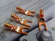 4Pcs Speaker Cable Spade Connector Red Copper Terminal Plug