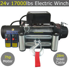 24V 17000lbs Electric Winch Steel Cable 28m Wireless 4x4 4wd Car Truck 17500lbs