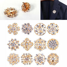 A Pack Of 12 Beautiful Gold Crystal Diamante Bride Flower Brooch Wedding Broach