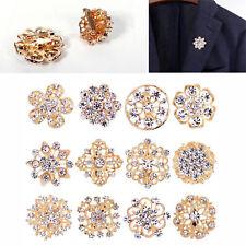 a Pack of 12 Gold Crystal Diamante Bride Flower Brooch Wedding Broach