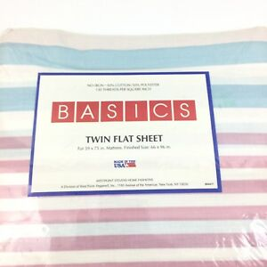 Vintage Westpoint Basics 50/50 Multi Color Stripe Twin Flat Sheet 66 X 96 #4034