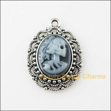 2 New Charms Tibetan Silver Oval Beauty Lady Skull Resin Pendants 22x31.5mm
