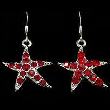 Starfish Sea Life Beach Dangle Drop Hook Earrings Costume Jewel Crystal Red 515