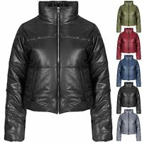 New Women Ladies Quilted Padded Puffer Bubble Fur Cropped Warm Thick Jacket Coat