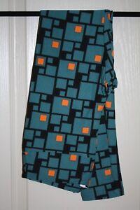 LuLaRoe - Leggings - Teal w/ black & orange geom - One Size - NEW with tags