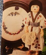 Annie's Oriental Asian Cloth Doll Kimono Sampler Afghan Pattern Scalloped Linens
