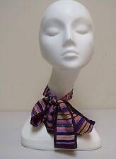 VINTAGE 80s ACCESSORY STREET Japan Silk Stripe Power Neck Bow Tie Silk Scarf