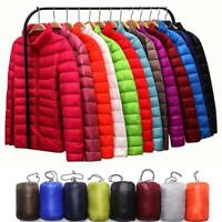 Women's Packable Down Stand Collar Jacket Stand Collar Coat Winter Hooded Parka