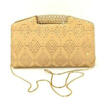 Judith Leiber Gold Crystal Handbag with mirror, comb and coin purse.