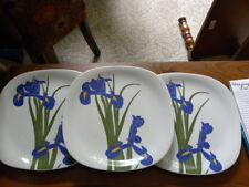 "3 Block FLORAL PORTRAITS Dinner Plates# 0071A ""IRIS"""