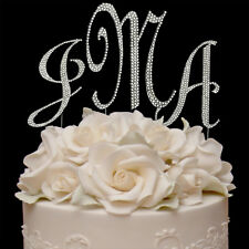 Rhinestone Crystal Covered Monogram Initial Letter Wedding Cake Topper Set