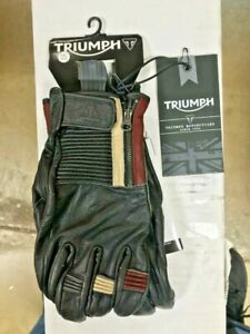 Triumph Motorcycles Mens Raven Fine Quality Leather Gloves w/ Zipper MGVS17322