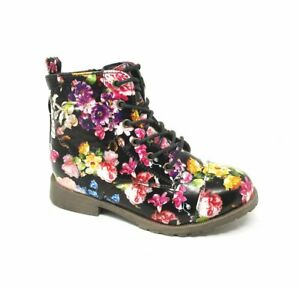 Girls Infants Kids Women Floral Funky Zipped Lace Shoes Ankle Biker Boots Sizes