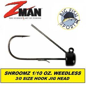 Z Man NED Rig Jig Head Weedless Pwr Finesse ShroomZ 1/10oz 5PK 3/0 HOOK #FJHW110