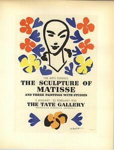 1959 Mini Poster Henri Matisse Lithograph The Sculpture Of  Matisse ORIGINAL