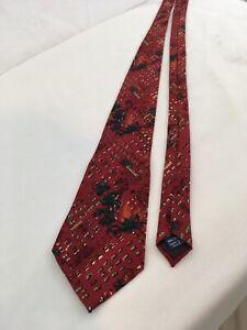 J Garcia Vtg USA Made Red Abstract Hand Sewn Silk Necktie
